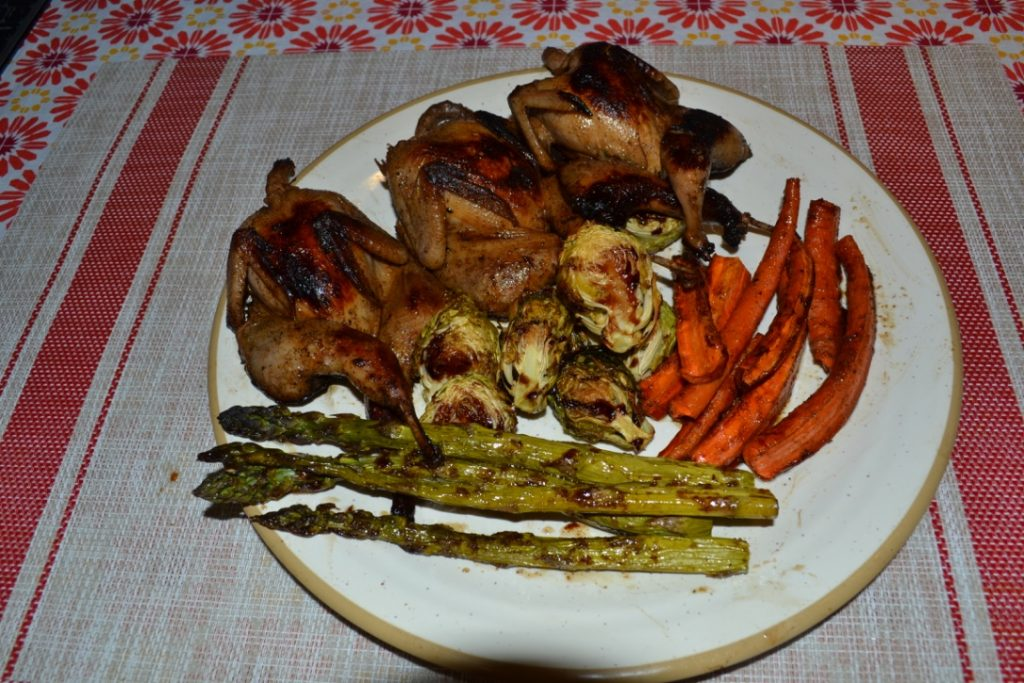 Pan-seared quail and roast veggies. Superb!