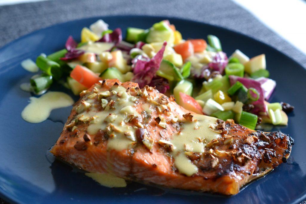 Steelhead trout with salad