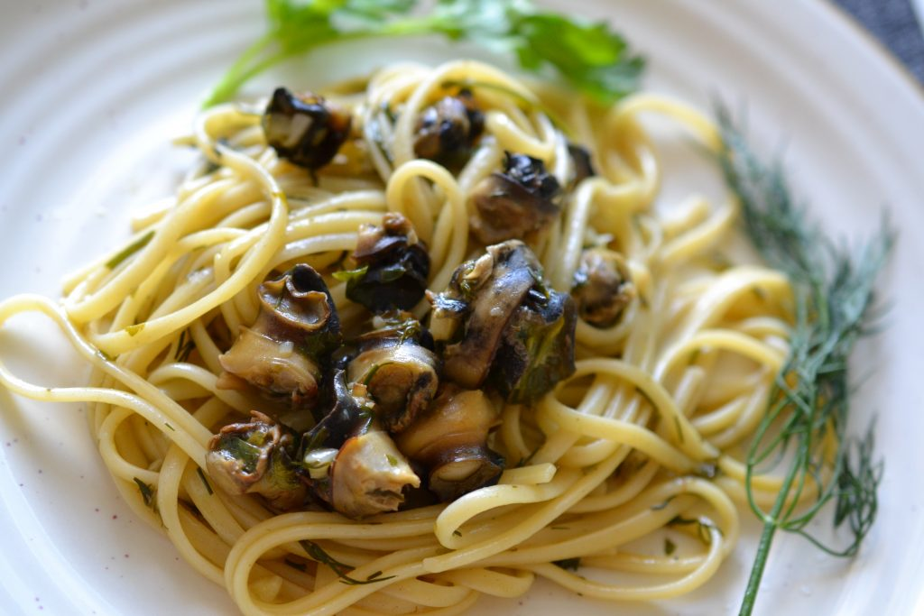 Snail or escargot pasta