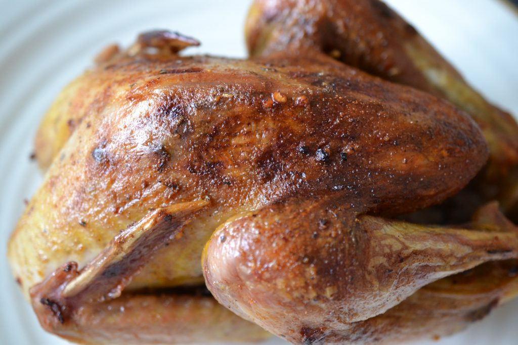 Roasted pheasant close up