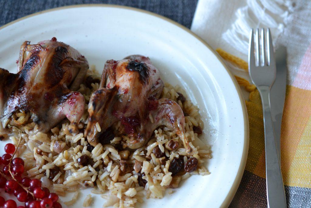 Roast, stuffed quail