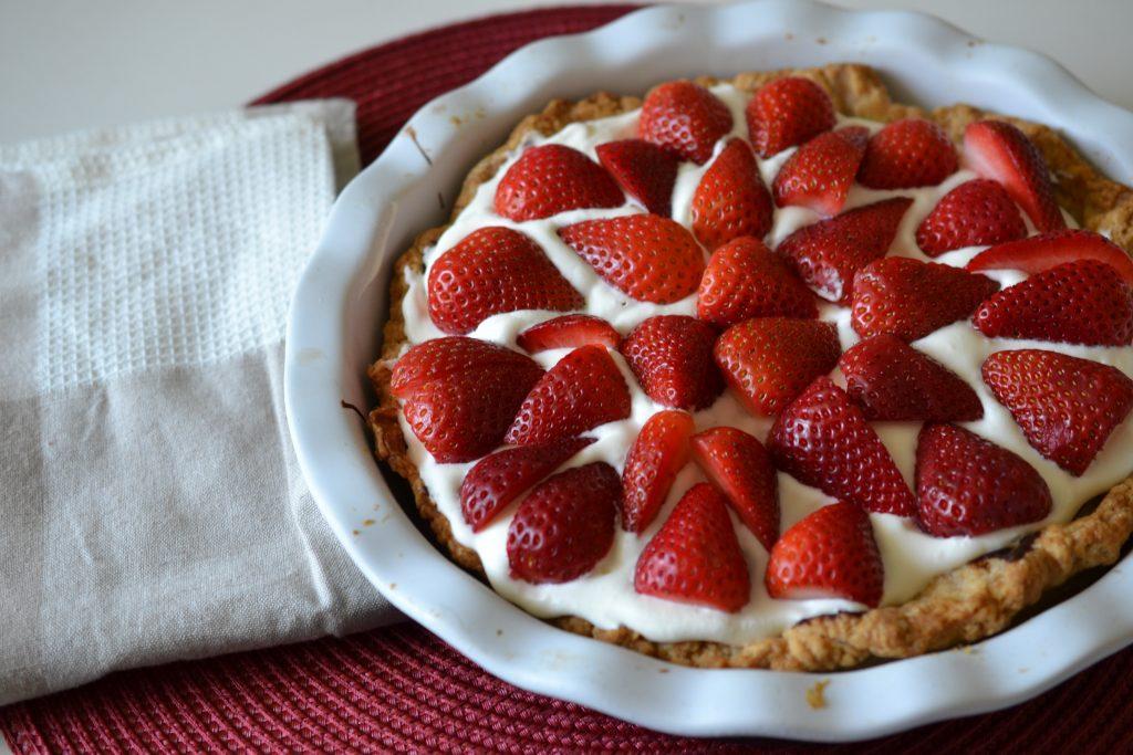Danish-style marzipan tart with strawberries