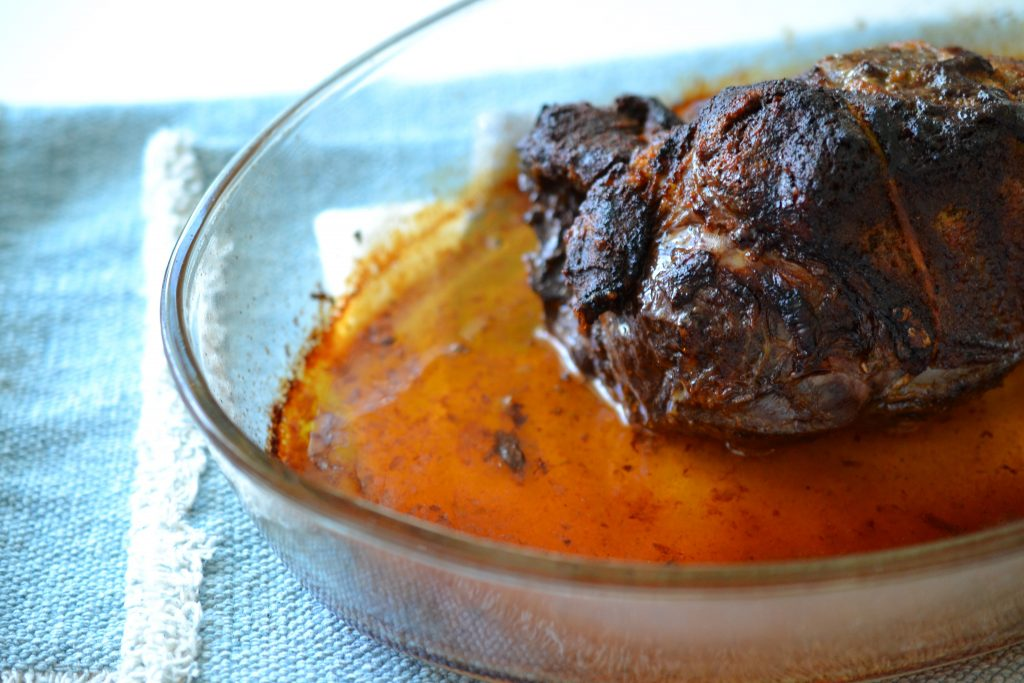Bison top sirloin roast in pan