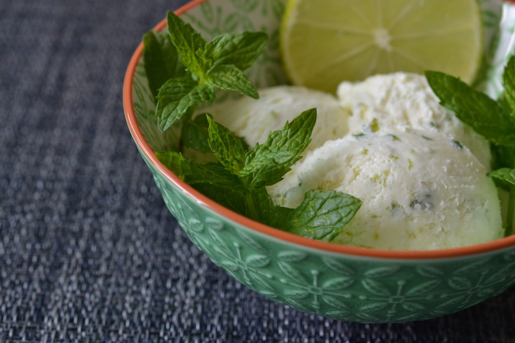 Lime mint ice-cream in a green bowl
