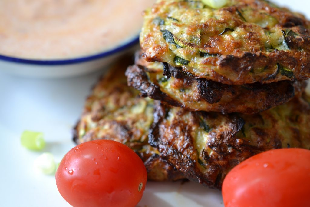 Close up picture of zucchini fritters