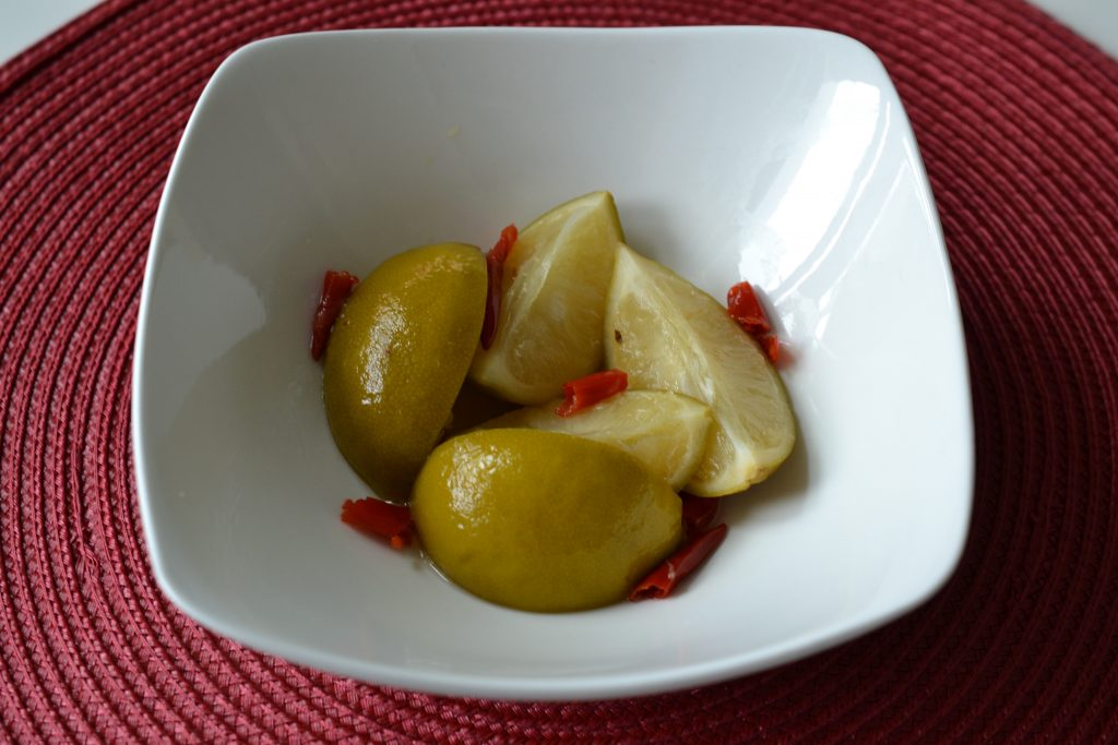 Pickled limes in a bowl