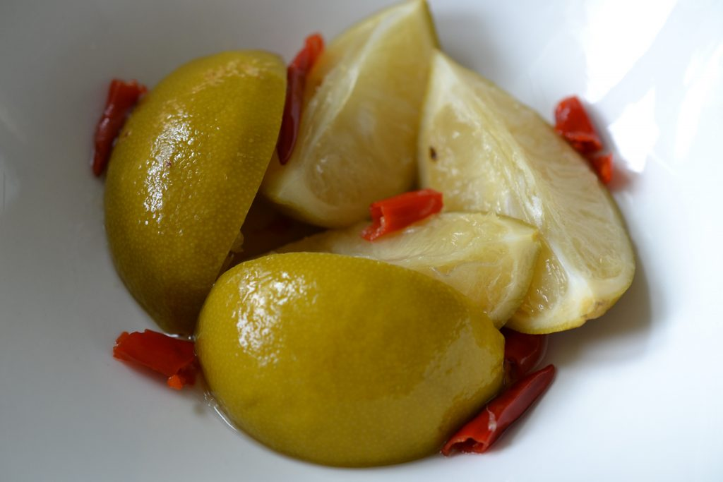 Pickled limes close up