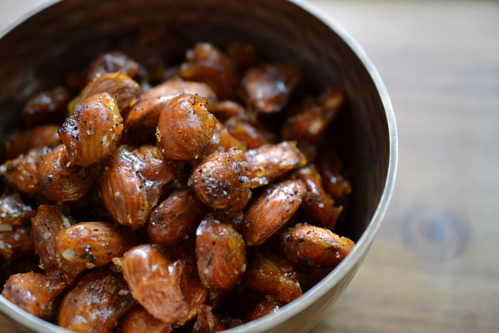 Chipotle candied almonds in a bowl