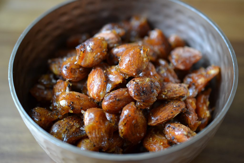 Bowl of candied chipotle almonds