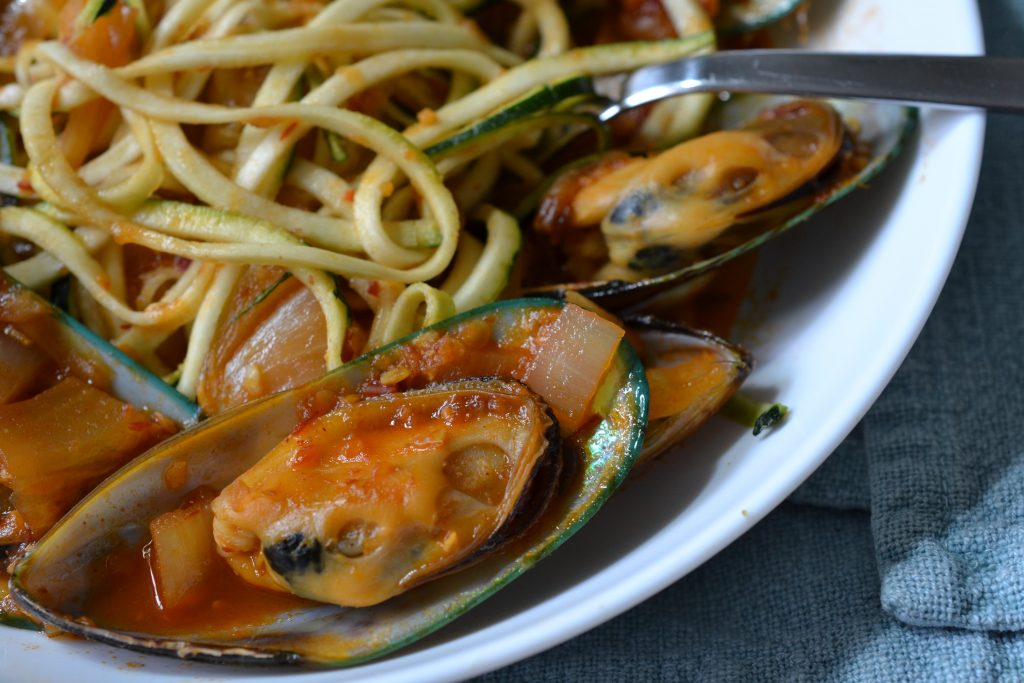 Close up of the spicy mussels zucchini noodles.