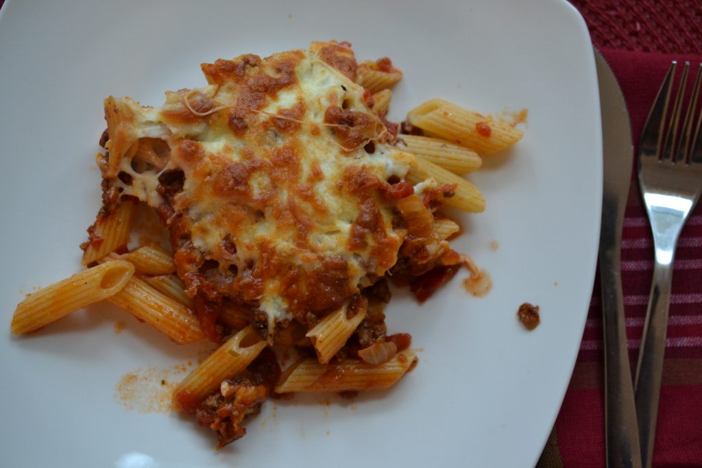 Camel meat pasta bake on a plate