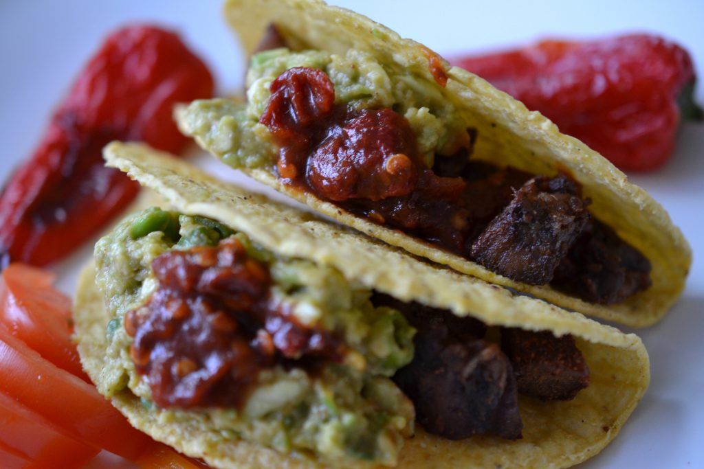 Lamb tongue tacos close up.