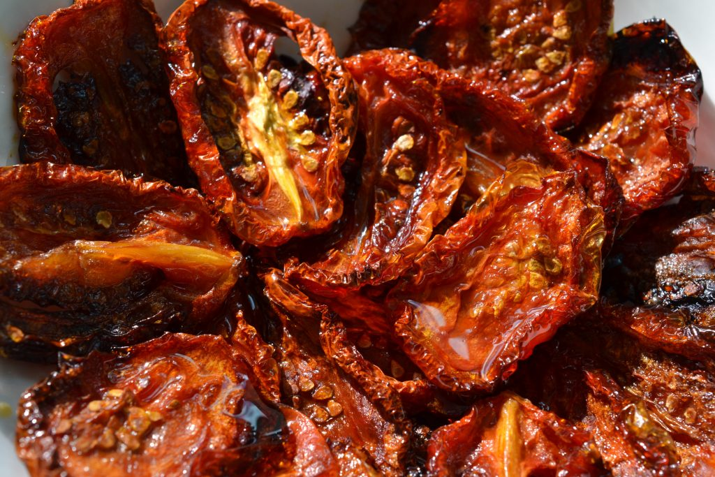Close-up of oven-dried tomatoes
