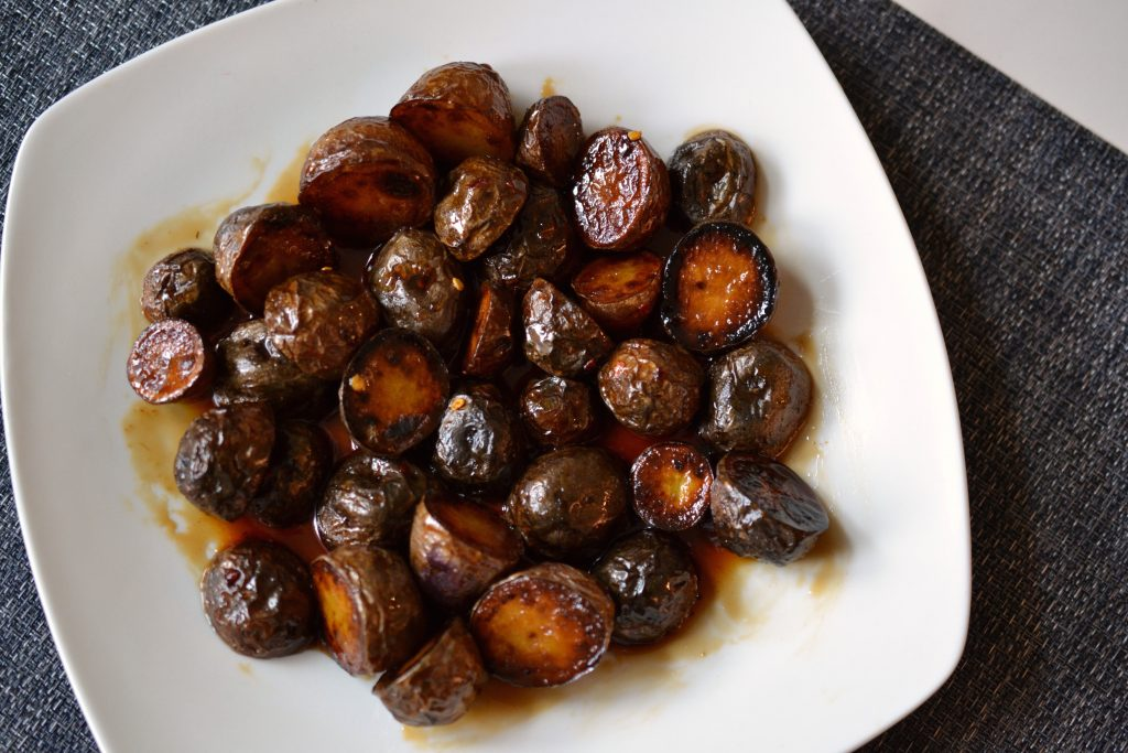 Honey and soy sauce glazed potatoes.