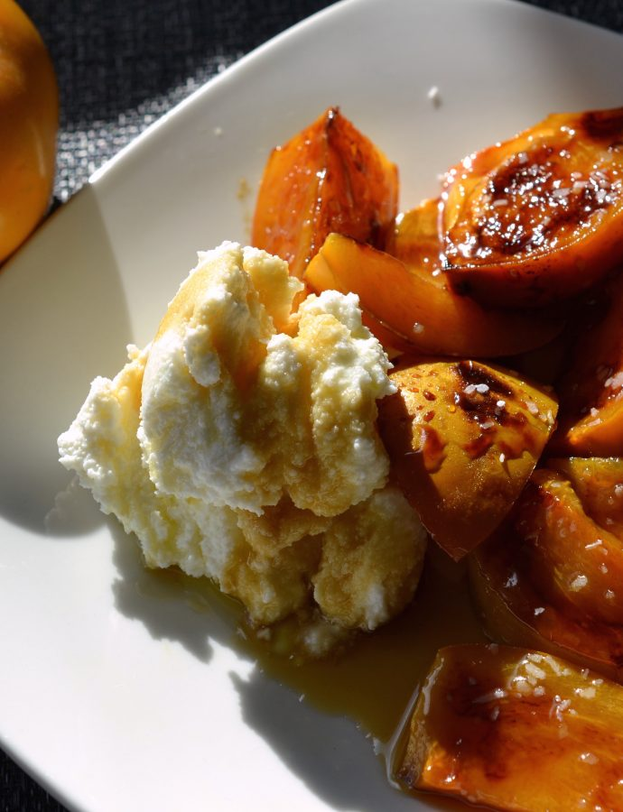 Caramelised Persimmons with Ricotta