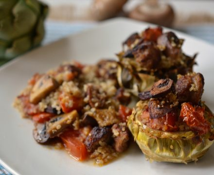 Stuffed Artichokes with Bulgur and Sausage