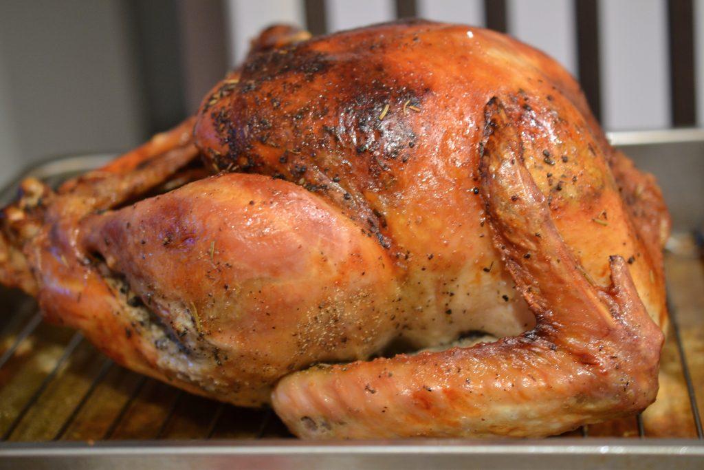 Whole dry brined roast turkey.